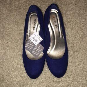 24/7 Comfort Apparel Shoes - Royal blue velvet heels! Brand new!